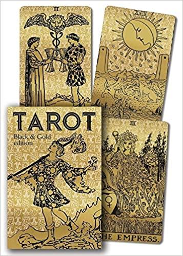 cartas de tarot negro y dorado